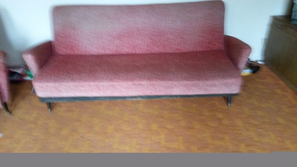 Retro Sofa Bed Plus 2 Wing Back Arm Chairs 1950 S 1960 Style