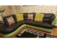 Black & Green Real Leather Corner Sofa