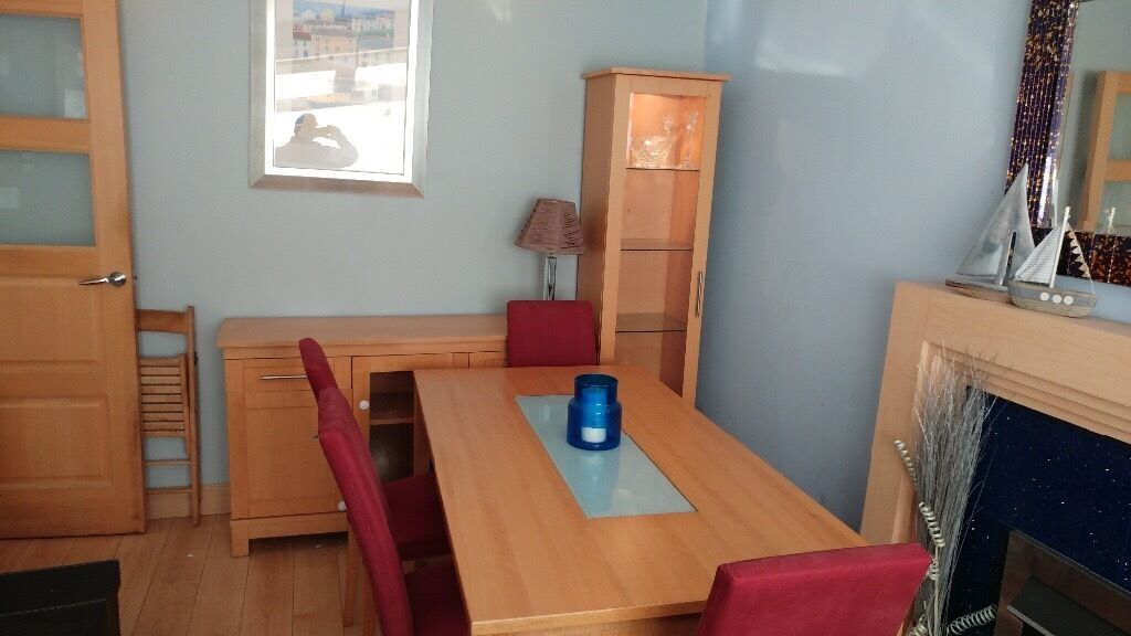 Beech dinning set (table and six chairs, sideboard and display cabinet)