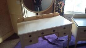 white dresser/mirror and marble top drawer