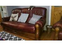 Oak and leather sofa 3 seater and 2