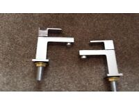 Chrome square mono bathroom taps, in box brand new, 2 sets available