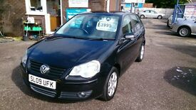 LOW MILEAGE 2009 VW POLO 1.2 MATCH 5 DOOR HATCH BLACK APRIL 2017 MOT ONLY 38K WITH F/S/H ALLOYS CD +
