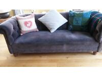 Free sofa - velvet Habitat chesterfield. Some wear (see pics) but still very comfortable.