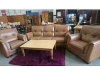 Wade Tanned Leather Three Piece Suite