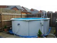 12ft by 4ft deep steel frame above ground swimming pool