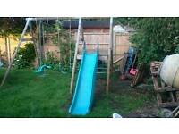 Swing and slide set. Outdoor play equipment