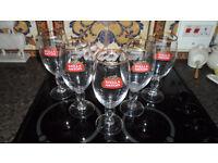 5 x STELLA ARTOIS CHALICE STEMMED PINT GLASS