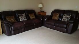 3+2 seater Genuine Leather Recliner Suite