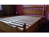 Silent Night solid pine double bed with drawers