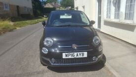 FIAT 500 LOUNGE CONVERTIBLE 2016 BLACK WITH BLACK ROOF.
