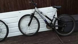Black and silver mountain bike