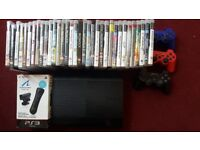 Ps3 super slim Console 320gb , no power adapter/charger cable, 3 controllers, playstation move