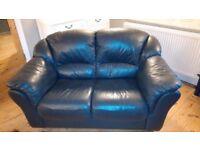 2 seater Italian leather blue sofa