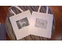 dachshund tote bag, hand printed