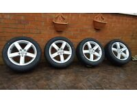 "NEW GENUINE ALLOY WHEELS AUDI 17"" WINTER TYRES 225 50 17 A4 VW SHARAN ALHAMBRA"