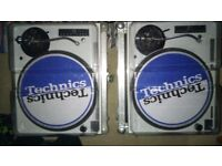 Technics pair - SL 1210 Mk2's custom White and Blue with Deck safer's.
