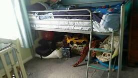 Metal mid sleeper with mattress