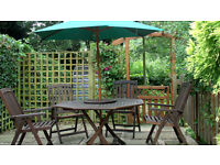 HARDWOOD GARDEN TABLE, CHAIRS & PARASOL