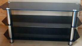 Black glass tv unit in good condition