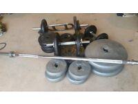 105kg York weight set with dumbells and bar