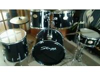 Full size black drum set