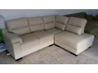 NEW Graded Cream Leather Corner Sofa Suite Free Local Delivery