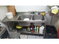 double sink. stainless steel