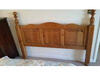 Heavy solid pine double bed head