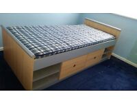 Children's Cabin Bed. 3 foot width. Complete with mattress with built under drawers and shelves.