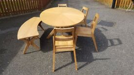 Large Oval White Oak Table 4 Chairs & Bench FREE DELIVERY 609
