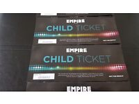 6 child empire cinema tickets