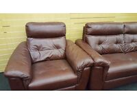 Antique Brown real leather 3 seater + 2 arm chair REDUCED