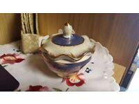 Small Ceramic White and Blue Pot