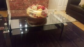 TOP QUALITY GLASS AND METAL COFFEE TABLE