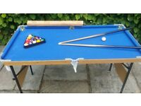 Fold up pool table 119cm x 60cm circa 4ft x 2ft