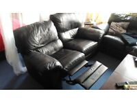 Pair two-seater leather reclining sofas