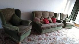 Great Condition Authentic Vintage Sofa. 3 Piece Suite. Arm chair and Sofa