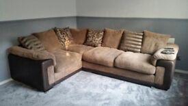Fabric corner sofa and storage footstool