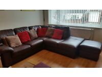 Leather corner sofa and free 2 seater