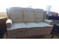 FREE THREE SEATER SOFA AND CHAIR - BEIGE GOOD CONDITION