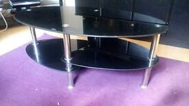 Black glass coffee tables and tv unit