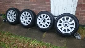 """16"""" Audi Alloy Wheels x 4 with Winter tyres 205/55/R16"""