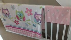 Owl design girls toddler bed duvet set x 2
