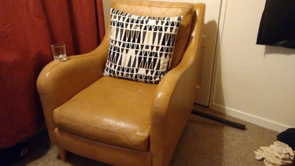 Next light tan brown leather armchair - £10 - worn leather ...