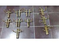 Lot of polished brass door handles for sale - 7 door sets and 3 bathroom door sets - £ 50