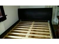 Brown leather king size bed frame