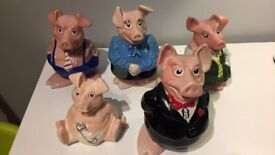 Set of 5 Natwest pigs (RARE pre-Wade Woody)