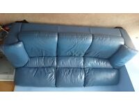 Blue leather three seater sofa good condition free