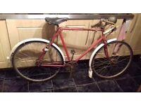 Classic Retro Raleigh Sports cycle 1955 red locking forks hub dynamo